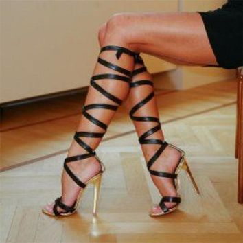 Roman Sandals High Heels Women Pumps Summer Classic Stilettos Slingback Strappy Gladiator Knee High Boots Shoes