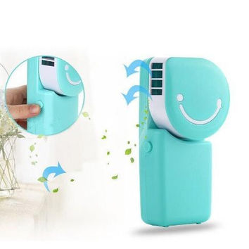 Portable Small Fan & Mini-air Conditioner, Runs On Batteries Or USB--Blue