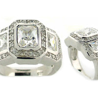 Claudia's Three Stone Sterling Silver CZ Heirloom Ring