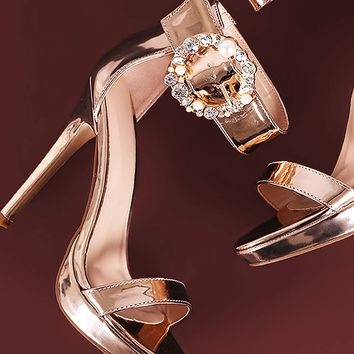 Jewels Embellished Buckle Metallic Ankle Strap Stiletto Heel