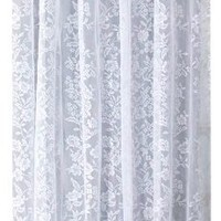Ricardo Romance Lace White Lace Fabric Shower Curtain With An Attached Valance, 70 X 72 Long