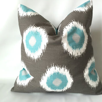 Ikat Pillow Cover - 18 x 18, One, Aqua Taupe Pillow, Ikat Polka Dot Pillow, Blue Brown Pillow, Aqua Pillow, Modern Decorative Pillow Cover