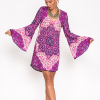 Kiss the Sky Bell Sleeve Mini - Violet