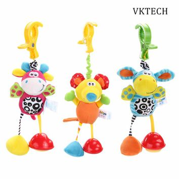 Baby Kids Toys Rattles Soft Mouse Donkey Deer Plush Toy Animal Clip Baby Crib Bed Hanging Bells Toys for Stroller Newborns