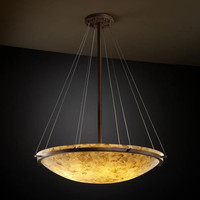 Justice Design Group ALR-9697-35-DBRZ-LED-6000 Alabster Rocks! 48-Inch Round Bowl 6000 Lumen LED Pendant with Ring