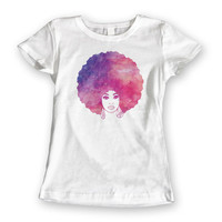 Afro Woman Watercolour T-shirt. Womens Watercolor Pink Purple Original Graphic Tee. 100% Cotton White Ladies Tshirt S,M,L,XL,XXL Afro Art