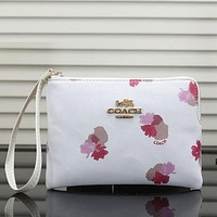 COACH Flower Women Fashion Leather Clutch Bag Handbag Tote