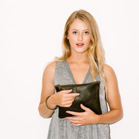 Khaki Green leather purse - Leather Wristlet - Soft Leather Clutch Purse - Evening Hand purse - Metal ring in Brass color