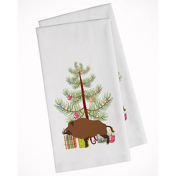Wild Boar Pig Christmas White Kitchen Towel Set of 2 BB9303WTKT