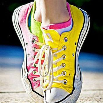 VONR3I Adult Converse All Star Low-Top Sneakers Fresh yellow pink