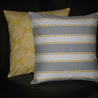 """Throw Pillows 20 inch DAMASK pillows Grey, Yellow set of TWO 20"""" accent pillows Decorative Pillow Covers grey LuLu Stripe & Dot"""