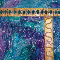 ORIGINAL MIXED MEDIA 3D Art, Textured Abstract Art, Blues, Purples, Turquoise, Rainbow Colors and Silver, Art by Artist
