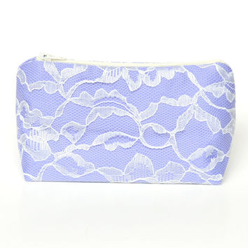 Bridesmaid Gift Wedding Periwinkle & Ivory Lace Cosmetic Bag, Wedding Favor, Bridal Shower Gift, Lilac, Pastel