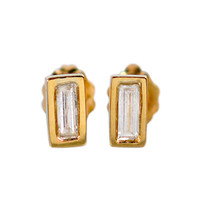 18K Gold Baguette Stud Earrings - Silver 10k Jewelry | Fine Jewelry | Me&Ro Jewelry