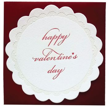 Happy Valentine's Day Circular Scalloped Card