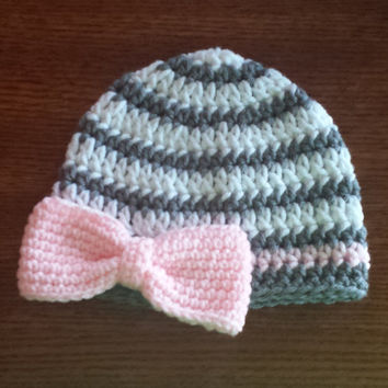 Crochet Beanie with Bow Preteen to Adult