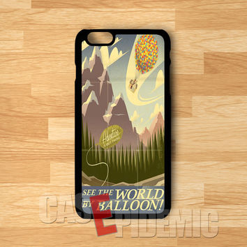 see the world by baloon vintage poster art disney up-1nay for iPhone 6S case, iPhone 5s case, iPhone 6 case, iPhone 4S, Samsung S6 Edge
