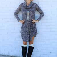 Grey Cowl Neck Asymmetrical Loose Dress