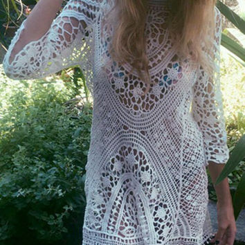 Off White Sheer Lace Crochet Cover-Up