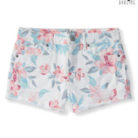 Tokyo Darling High-Waisted Destroyed Hibiscus Denim Shorty Shorts