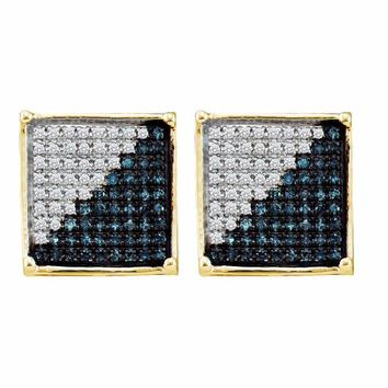 10kt Yellow Gold Mens Round Blue Color Enhanced Diamond Square Cluster Earrings 1/5 Cttw