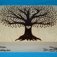 Decorative Wooden Wedding Card Box Wood Burned Suitcase Box Wedding Tree Keepsake Guest Book Box Large Box Personalized Love Birds Gift