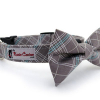 Plaid Dog Collar (Grey, Gray, Turquoise & White) (Matching Bow Tie Available)