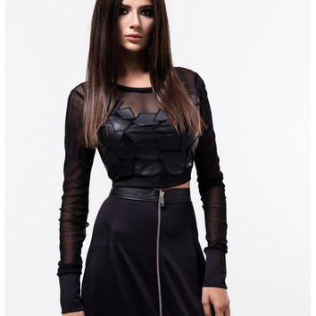 Mesh crop top / Black crop top / Leather crop top / Long sleeved crop top / Mesh leather detail crop top