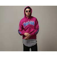 Mens Flame Printed Sweats Jersey Hoodie at Fabrixquare