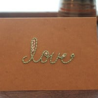 "Brown mint Simple Blank Notecard (Kraft 4x6) ""love"""