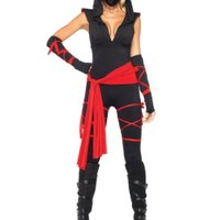 Leg Avenue Costumes 4Pc. Deadly Ninja Catsuit Waist Sash Arm Warmers Mask Wraps:Amazon:Clothing