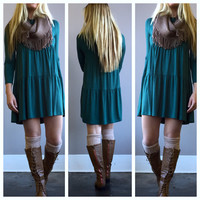 A Babydoll Tiered Dress in Teal