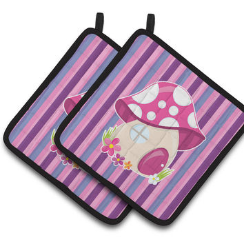 Fairy House Pink and Purple Pair of Pot Holders BB6908PTHD