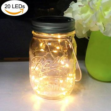 Solar Mason Jar Lights, 20 Leds Waterproof Fairy Firefly String Lights Build-in Glass Mason Jar, Best Patio Yard Desktop Party Decor Solar Lantern Warm White (1 Pack-Mason Jar Included)