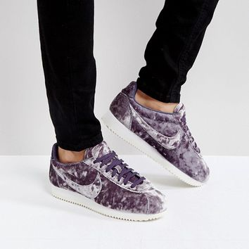 Nike Velvet Cortez Trainers In Lilac at asos.com