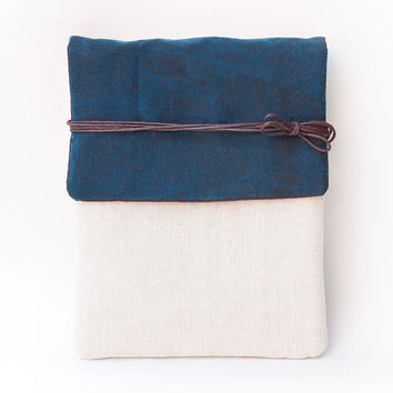 Limited Version -  Prussian Blue Tied Silk Signature Cotton Kindle Cover or MacBook Air Sleeve, Made to Order