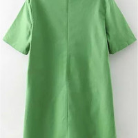 Green Short Sleeve Dress with Pockets
