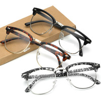 Vintage Retro Clear Lens Semi Rimless Eyeglass frames Plain Glasses Men Women Eyeglasses Optical Frame Oculos s