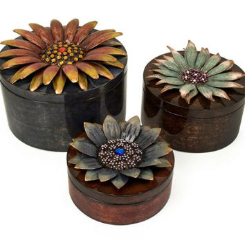 3 Keepsake Storage Boxes - Flower Theme