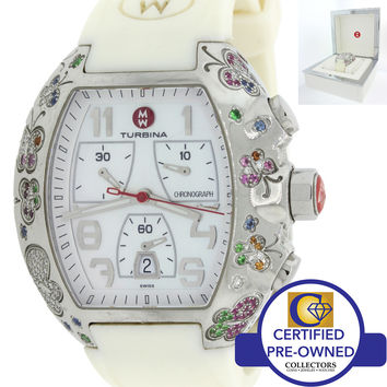 Ladies Michele Turbina Butterfly Chronograph Quartz Dress Watch w/Box Papers