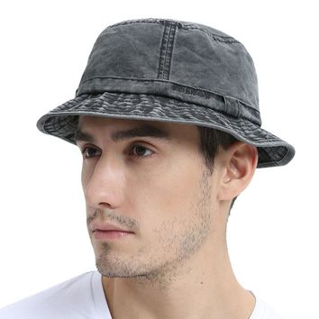 VOBOOM Black Washed Cotton UV Protection Bucket Hat Men Summer Boonie Hunting Fisherman Hats Travel Japanese Korea Sun Cap 163