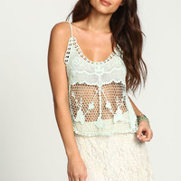 MINT FLORAL CROCHET NETTED TOP