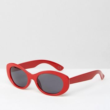 ASOS Oval Rounded Sunglasses In Red at asos.com