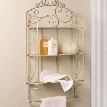 Scrolled Iron 3 Shelf Ivory Wall Shelf With Towel Bar
