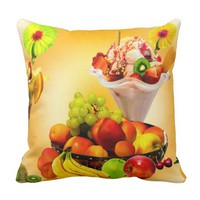 SUMMER FRUIT,ICE CREAM AND ORANGE JUICE THROW PILLOW