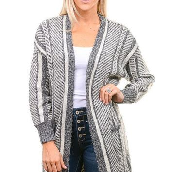 Charcoal Diagonal Striped Long Cardigan