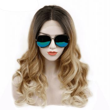 """Ombre Heat Resistant Synthetic Lace Front Wigs Long 24"""""""