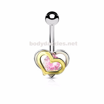 Pink Gold and Steel Two-Tone Double Heart with CZ 316L Surgical Steel Belly Button Navel Rings 14ga