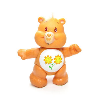 Friend Bear Care Bears Vintage Poseable Toy PVC Figurine, Peach with Flowers on Tummy