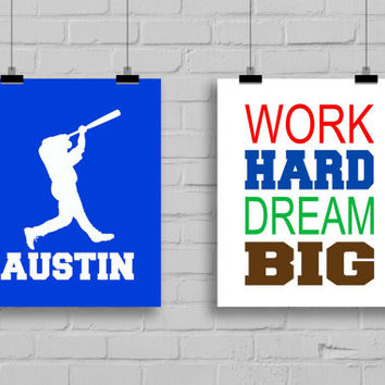 Baseball Decor - Personalized Name Print, Teen Room, Nursery Decor, Baseball Wall Decor, Baseball Room, Sports Decor, Set of 2 Prints